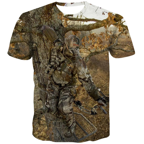 Hunting T shirts Men Jungle Shirt Print Deer T-shirts Graphic Shooter T-shirts 3d Camouflage T shirts Funny
