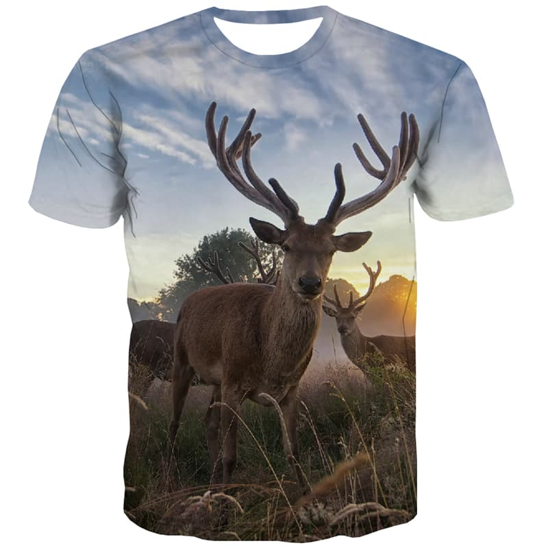 Animal T shirts Men Deer Tshirt Printed Forest Tshirts Casual Space T-shirts 3d