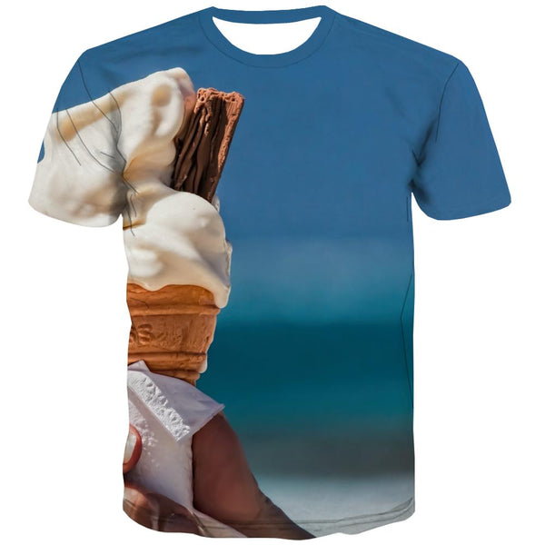 Sweet T-shirt Men Gourmet Tshirt Printed Icecream Tshirts Novelty Colourful Tshirts Cool