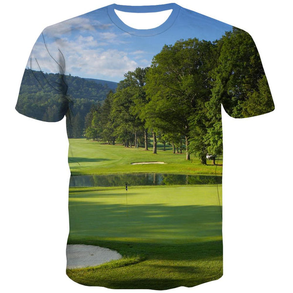 Lawn T-shirt Men Golf Shirt Print Forest T-shirts 3d Natural Tshirt Printed Game T-shirts Graphic