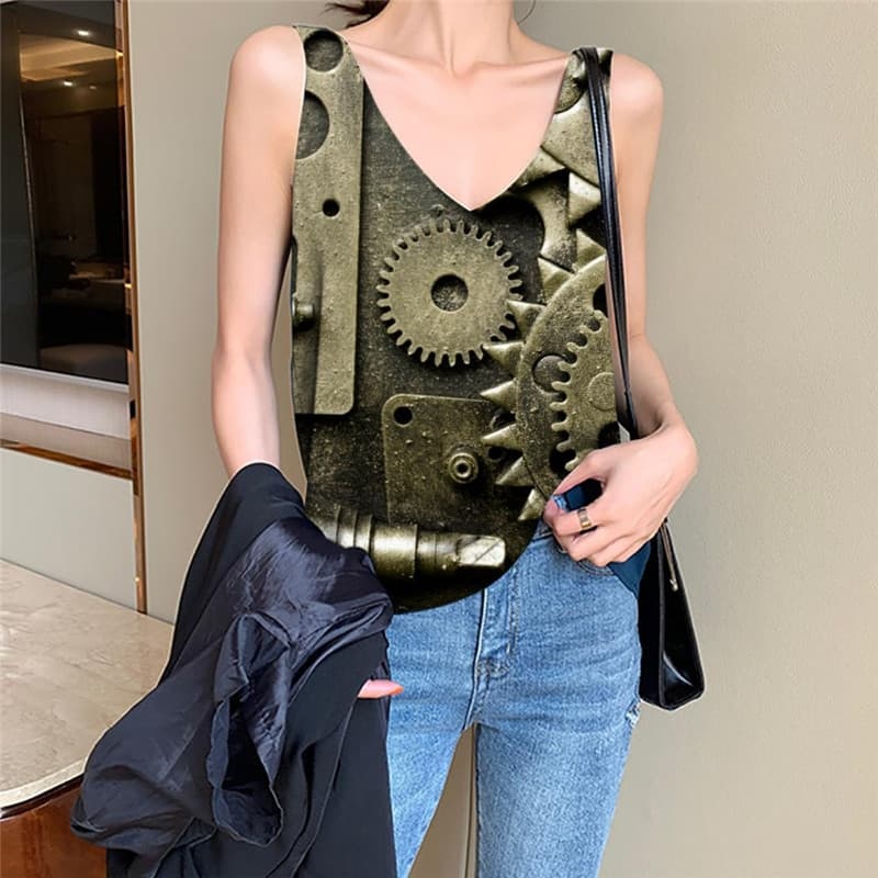 Metal Tank Top Women Engine Vest Printed Gear Vest Print Hip Hop Tank Tops Casual