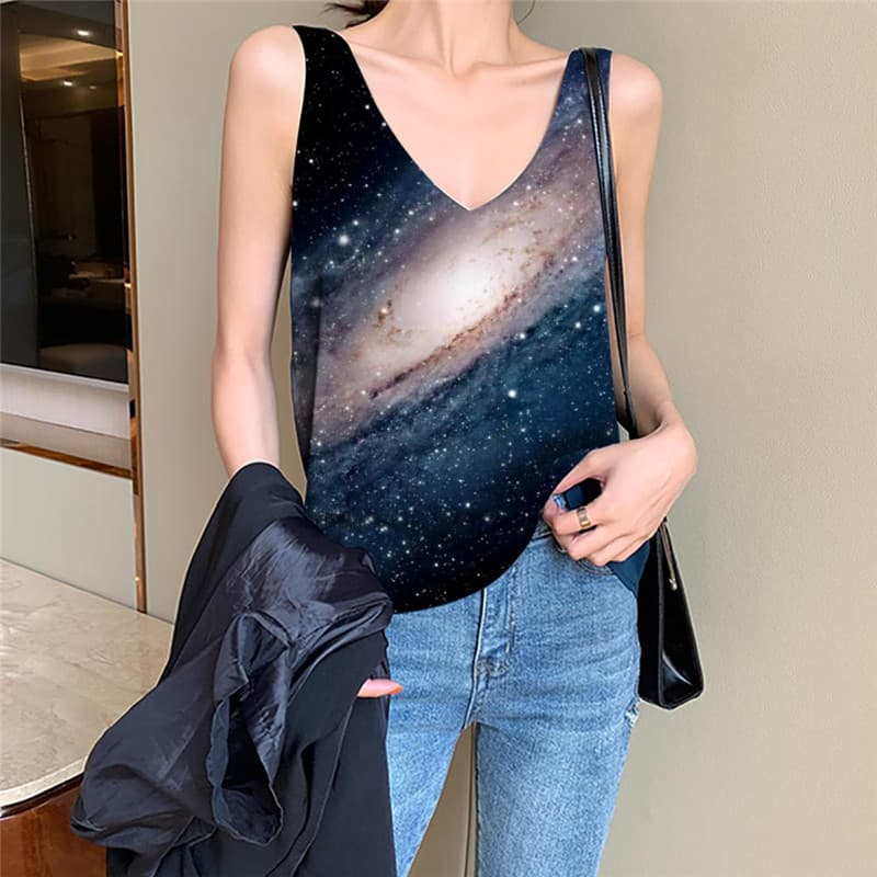 Galaxy Tank Top Women Space Funny Top Universe Anime Clothes Black Tank Tops Casual