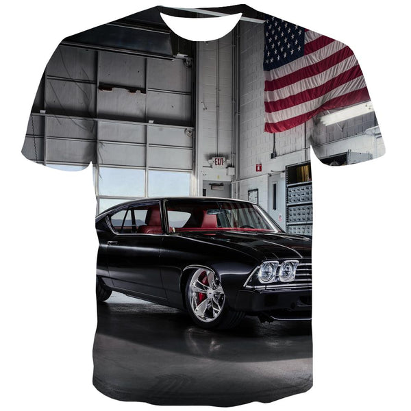 Racing Car T shirts Men Metal T shirts Funny City T-shirts 3d Gray T-shirts Graphic Retro Tshirt Anime