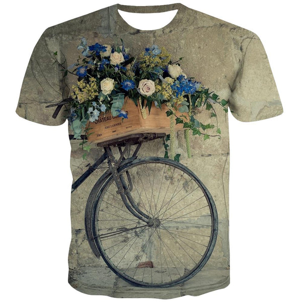 Bicycle T-shirt Men Metal Shirt Print City Tshirt Anime Psychedelic Tshirts Casual