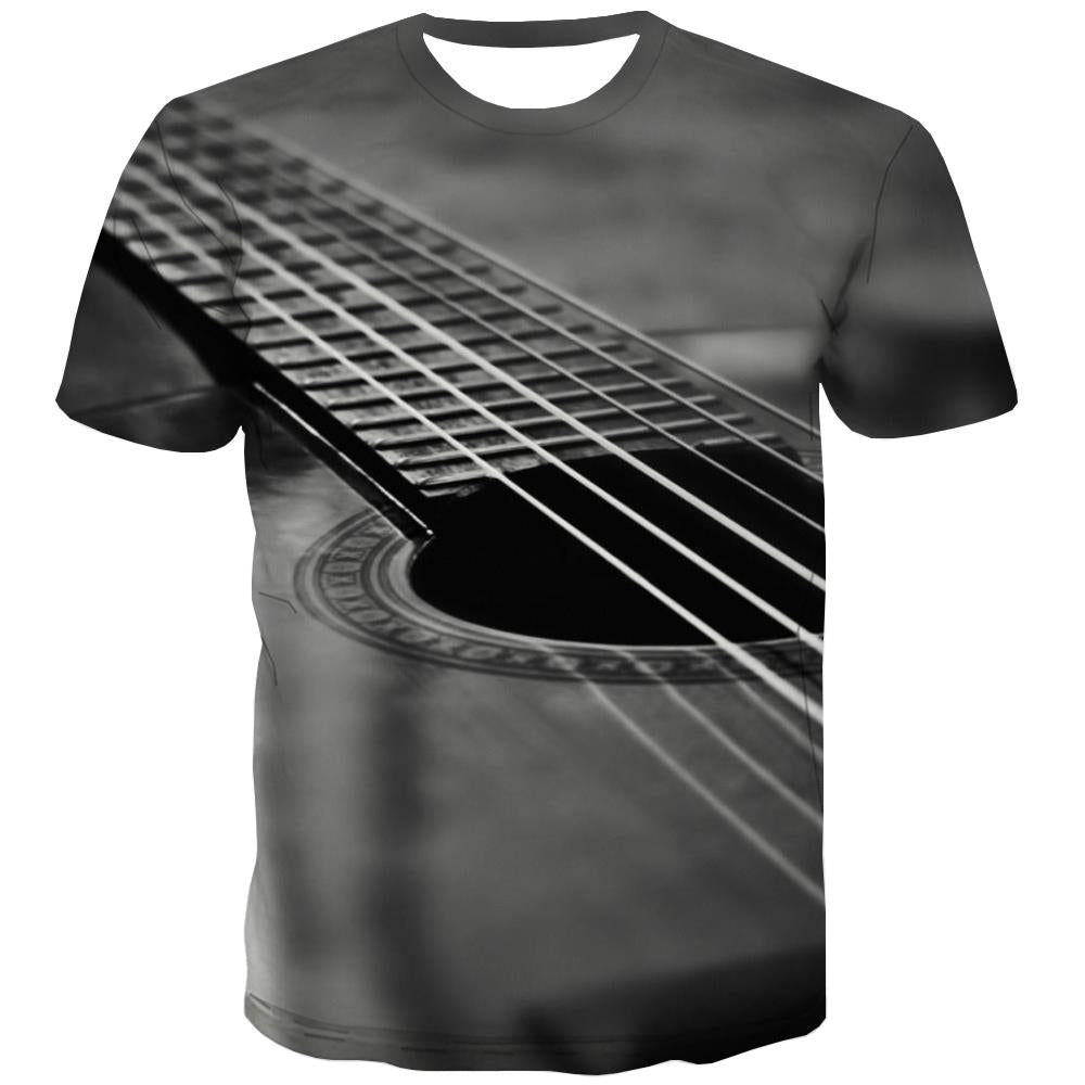 Guitar T shirts Men Music Shirt Print Wooden T-shirts Graphic Metal Tshirts Novelty