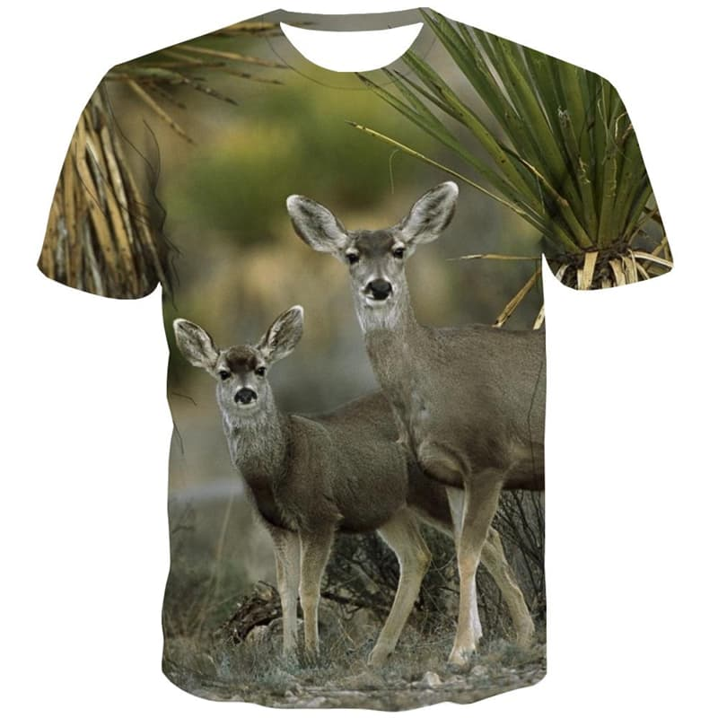 Deer T-shirt Men Animal T-shirts 3d Harajuku Tshirts Cool Short Sleeve