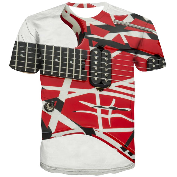 Guitar T shirts Men Music T shirts Funny Wooden T-shirts Graphic Metal Tshirt Printed