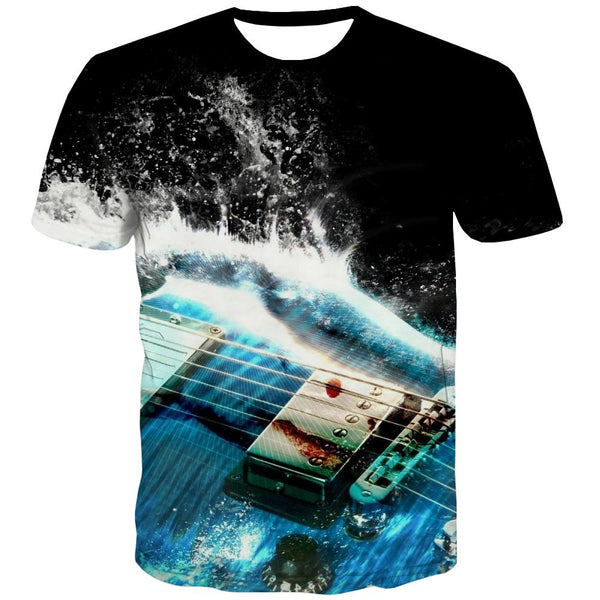Guitar T shirts Men Music T shirts Funny Wooden Tshirts Novelty Metal Shirt Print