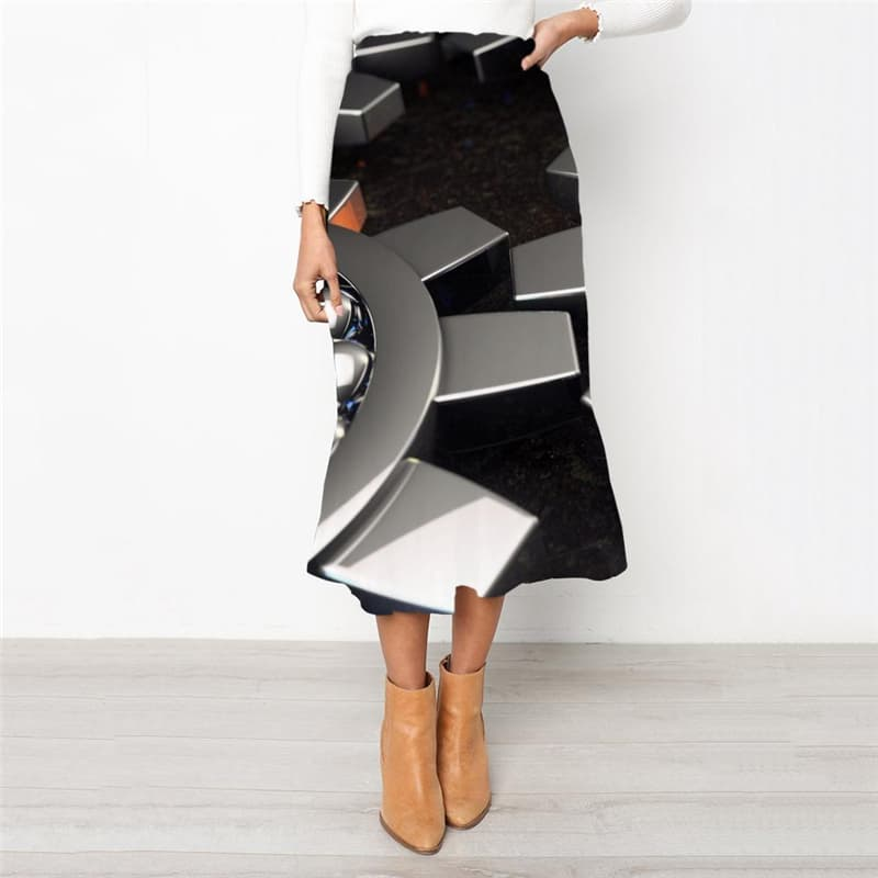 Metal Skirts Women Engine School skirt Gear Rock Frauen Harajuku High waist skirts
