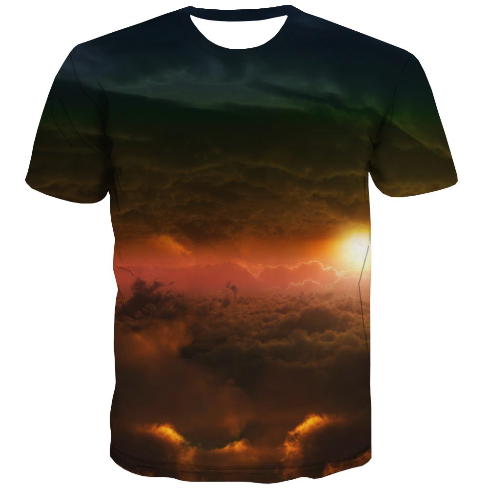 Basketball T shirts Men Night View Tshirts Cool Galaxy T-shirts 3d City Tshirts Casual