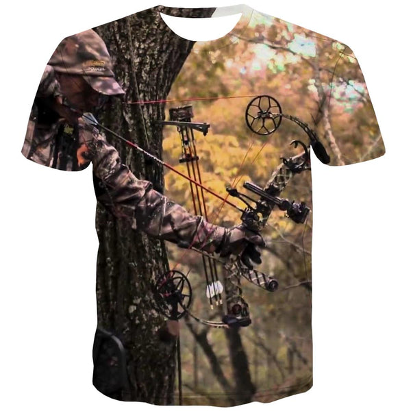Hunting T shirts Men Jungle Tshirts Casual Deer Tshirt Anime Shooter T-shirts Graphic Camouflage Tshirts Cool