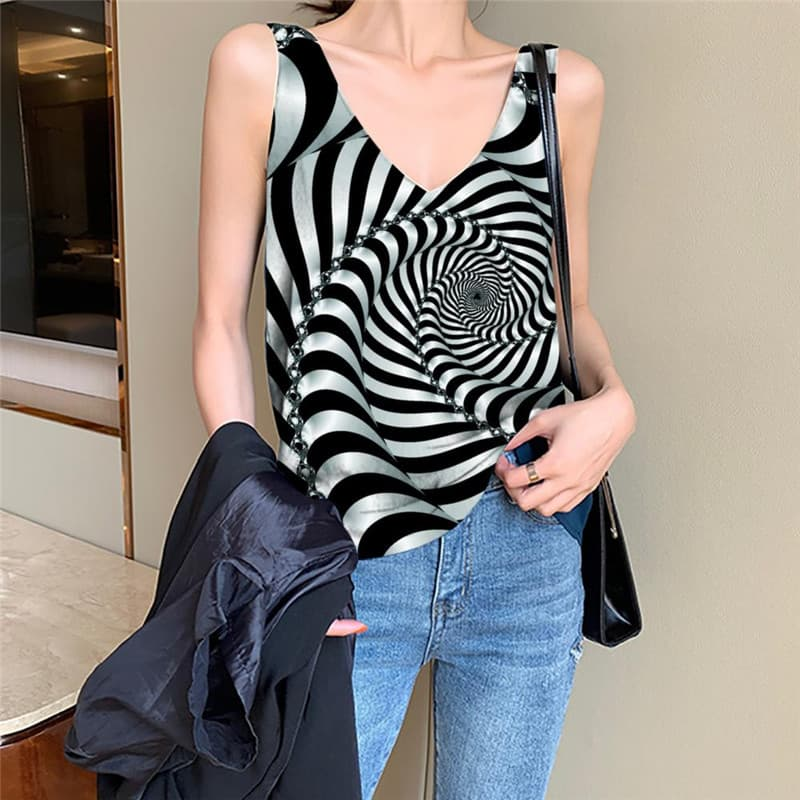 Dizziness Tank-Top women Black And White Vest Printed Abstract Vest Print Psychedelic Funny Top