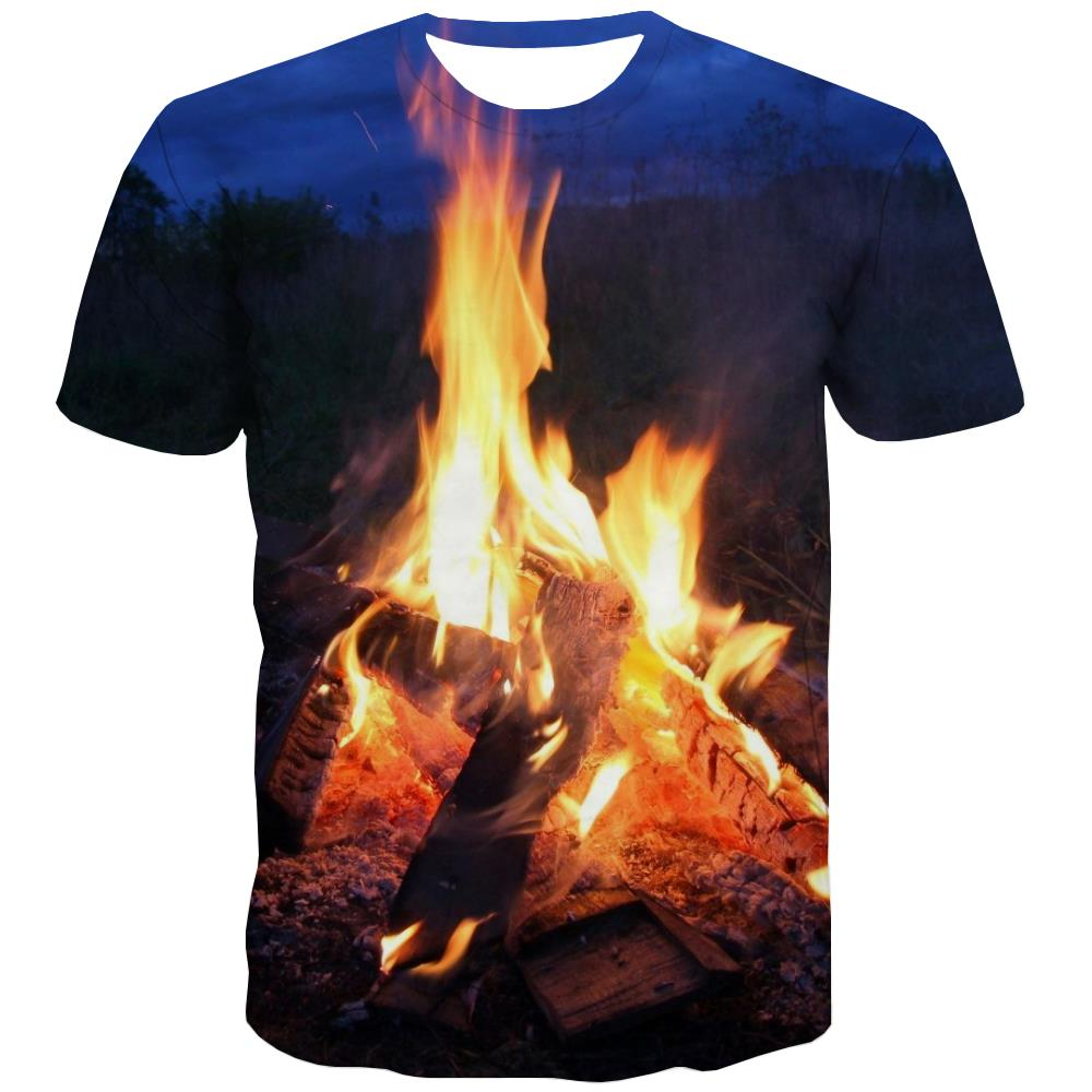 Camping T-shirt Men Sunset Tshirts Novelty Forest T shirts Funny Flame Shirt Print