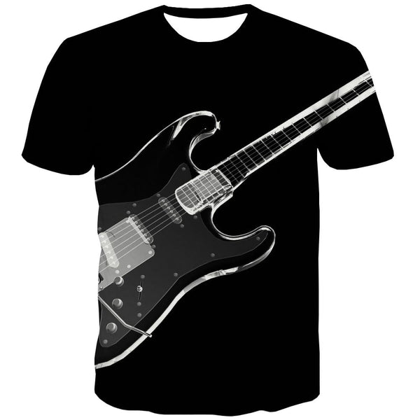 Guitar T shirts Men Music Tshirt Anime Wooden Tshirt Printed Metal T-shirts 3d