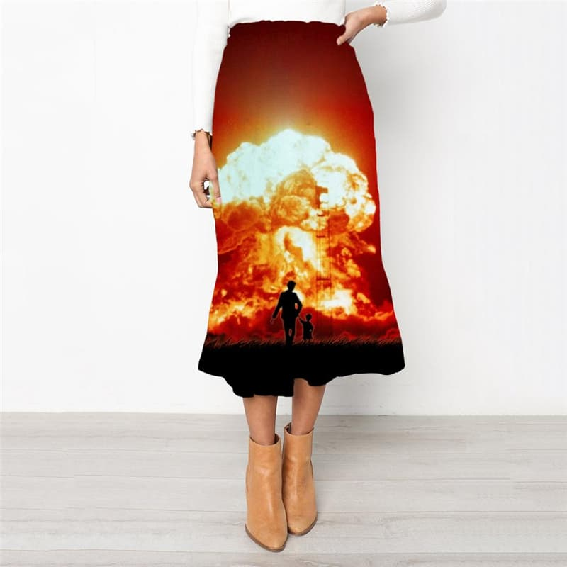 Flame Skirt Women Landscape Skirt Ladies Harajuku School skirt Womens Clothing