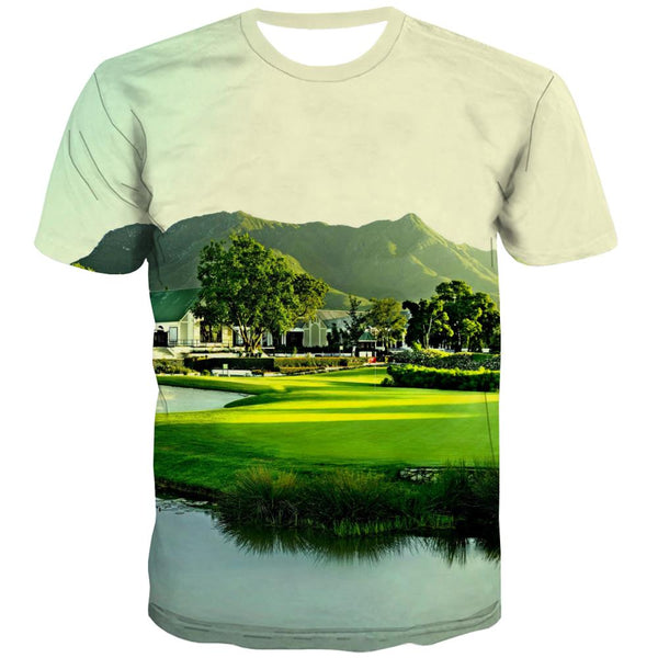 Lawn T shirts Men Golf Tshirts Cool Forest Tshirts Casual Natural Shirt Print Game T shirts Funny
