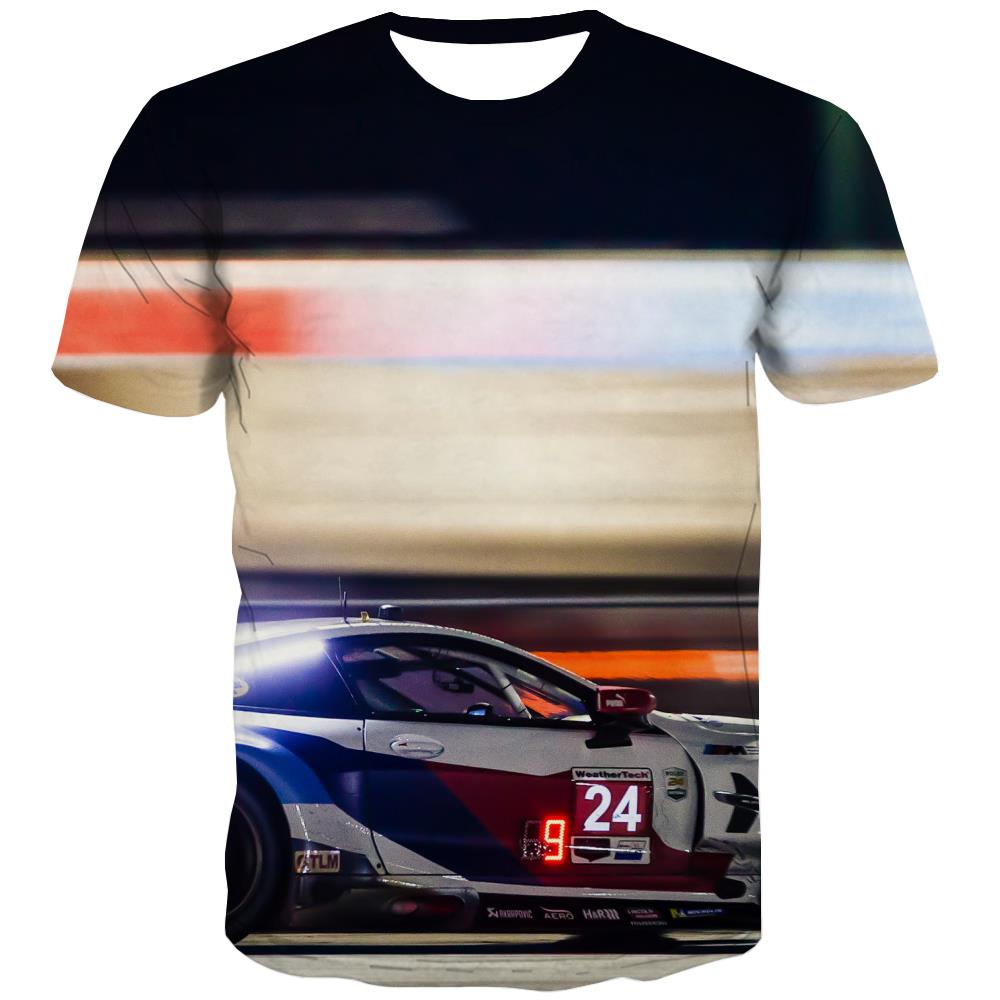 Racing Car T shirts Men Metal Tshirts Novelty City Tshirts Cool Gray T shirts Funny Retro T-shirts 3d