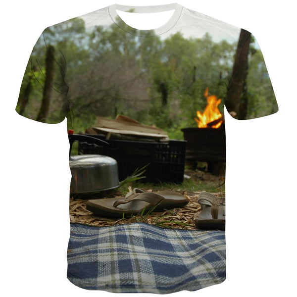 Camping T shirts Men Sunset Tshirts Casual Forest Shirt Print Flame T shirts Funny