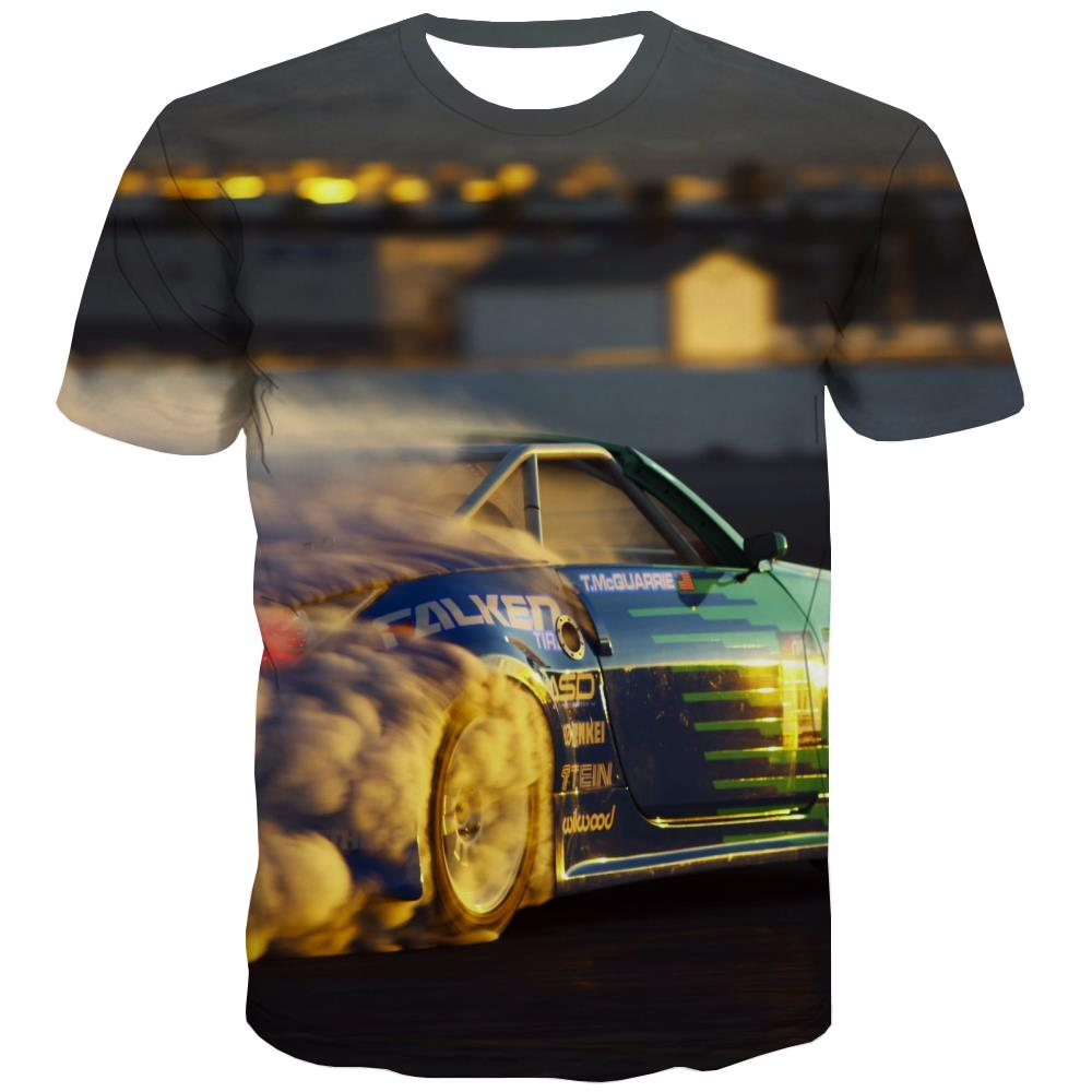 Racing Car T-shirt Men Metal Tshirt Printed City Tshirts Casual Gray T-shirts 3d Retro Tshirts Novelty