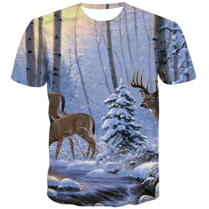 Animal T-shirt Men Deer T-shirts 3d Snow Tshirt Anime Forest T-shirts Graphic
