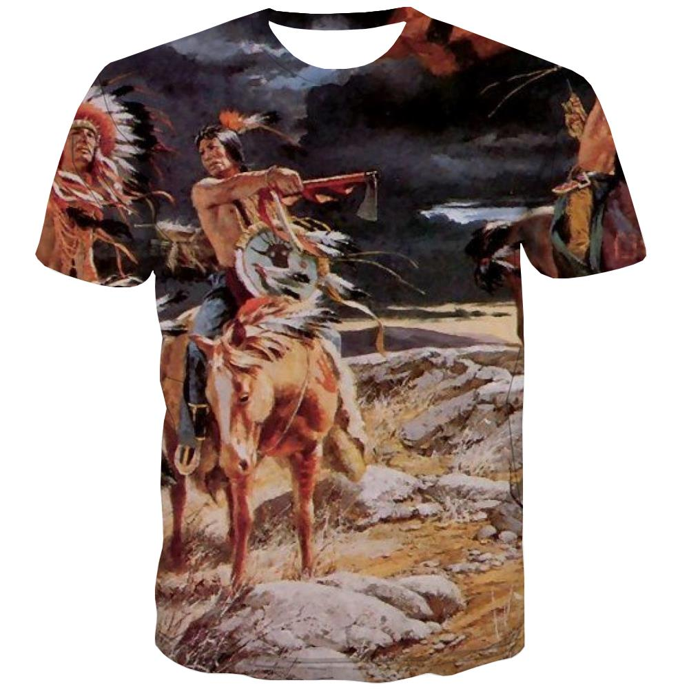 Indians T shirts Men Grassland Tshirts Cool Sunset Shirt Print War T shirts Funny