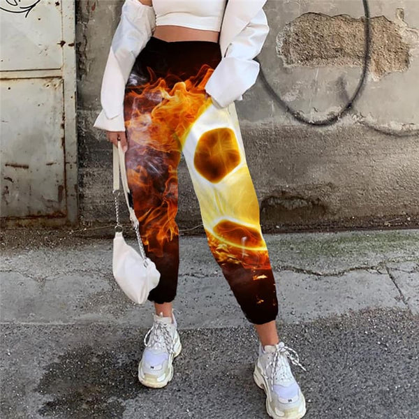 Flame Pants Women Ball 3d Printed Movement Casual Pant Hip Hop Trouser