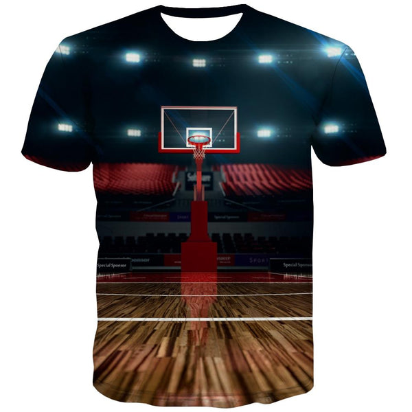Basketball T shirts Men Night View Tshirts Casual Galaxy Tshirts Novelty City Shirt Print