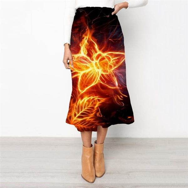 Flame Skirts Women Flower High waist skirts Art Skirt Ladies Womens Clothing