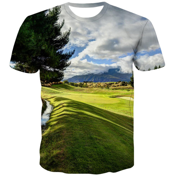 Lawn T-shirt Men Golf Tshirts Novelty Forest Tshirts Cool Natural Tshirt Anime Game T-shirts 3d
