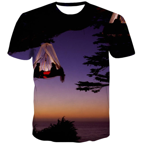 Camping T shirts Men Sunset T shirts Funny Forest Tshirt Anime Flame Tshirts Cool
