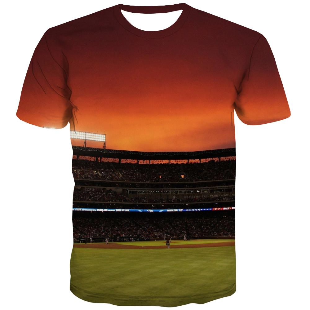 Baseball T-shirt Men Stadium T-shirts 3d Game Shirt Print White T-shirts Graphic