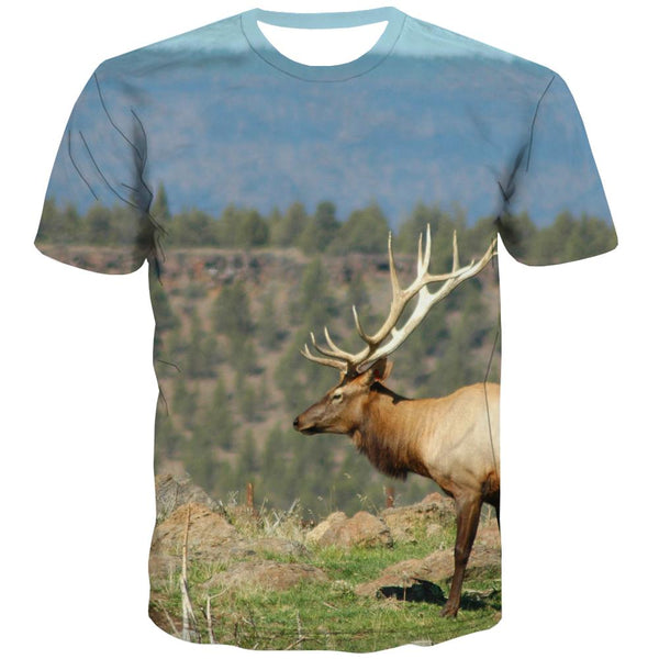 Hunting T-shirt Men Jungle Tshirts Casual Deer T-shirts Graphic Shooter T-shirts 3d Camouflage Tshirt Anime