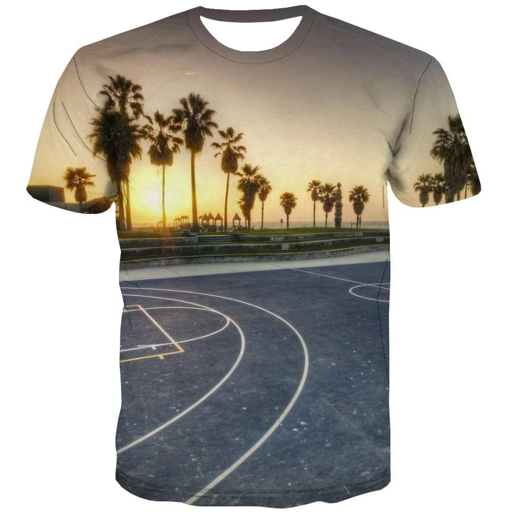 Basketball T-shirt Men Night View Tshirt Anime Galaxy Tshirts Casual City T-shirts Graphic