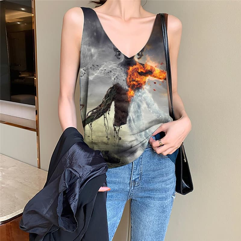 Flame Tank-Top women Tornado Vest Printed Party Anime Clothes Womens Clothing