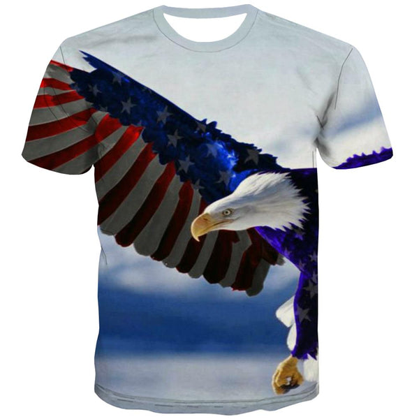 USA T-shirt Men Animal Tshirt Printed Raptor Shirt Print Fly Tshirts Cool Eagle Tshirts Casual
