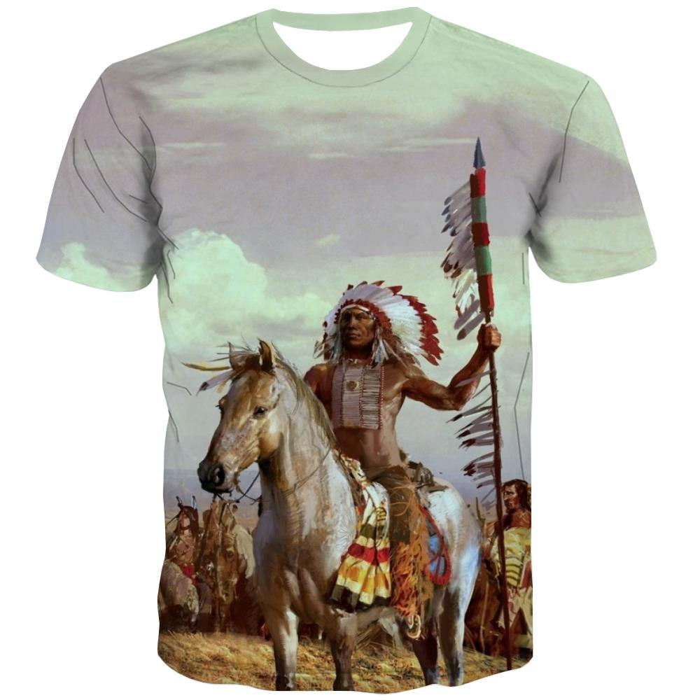 Indians T shirts Men Grassland T shirts Funny Sunset Tshirt Anime War Tshirts Cool