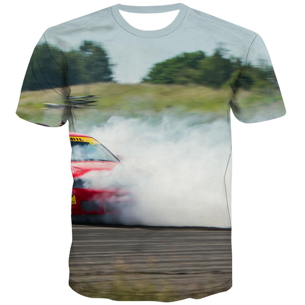Racing Car T shirts Men Metal T shirts Funny City T-shirts 3d Gray Tshirt Printed Retro Shirt Print
