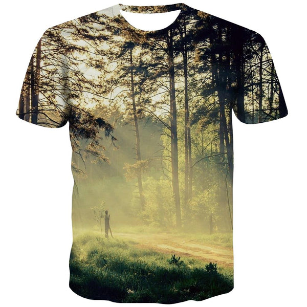 Camping T shirts Men Sunset Tshirt Printed Forest T-shirts 3d Flame Shirt Print