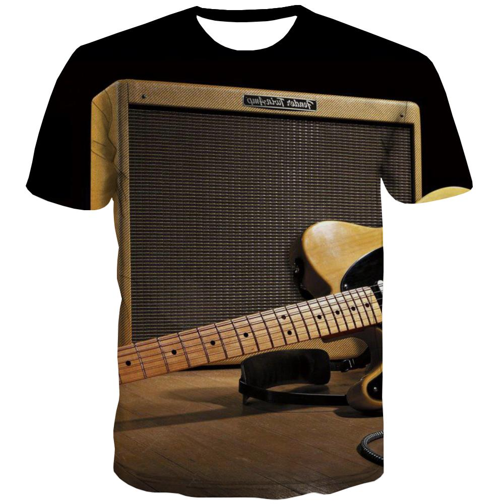 Guitar T shirts Men Music T-shirts 3d Wooden T shirts Funny Metal T-shirts Graphic