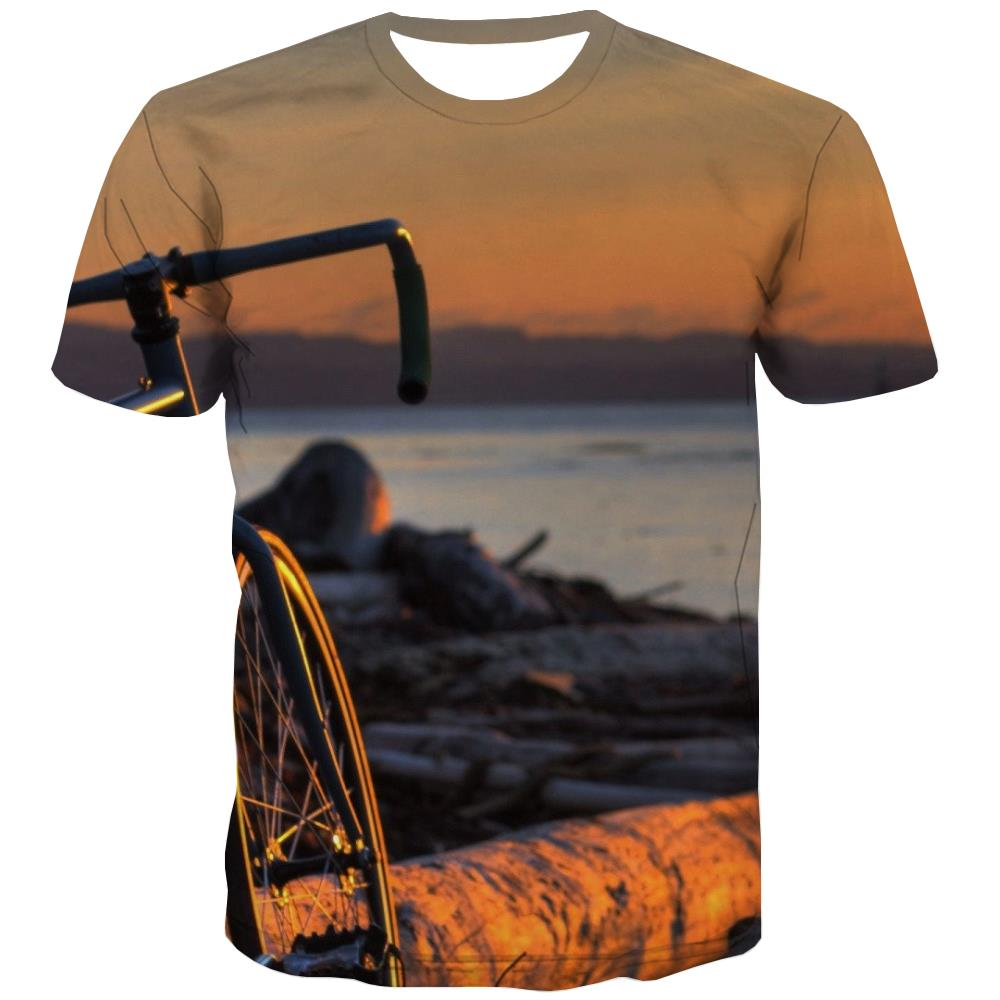 Bicycle T shirts Men Metal T-shirts 3d City Tshirts Novelty Psychedelic T-shirts Graphic