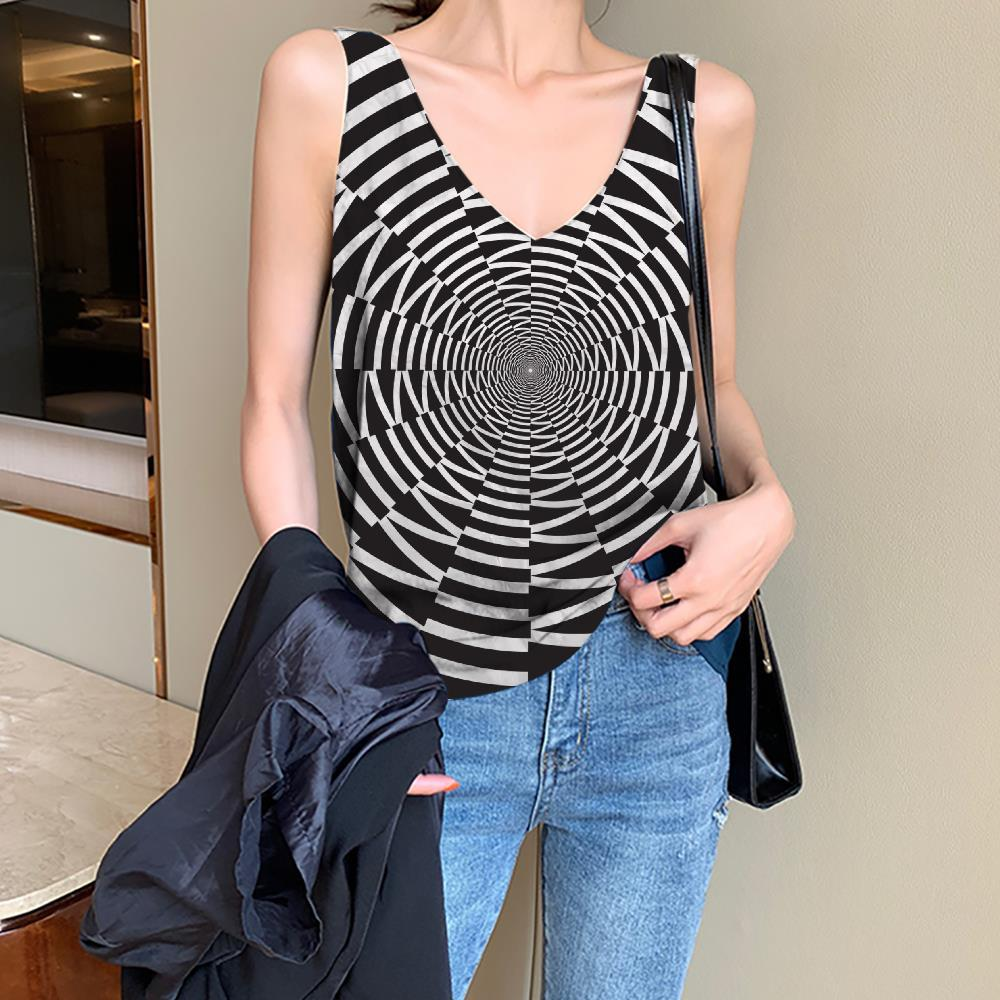 Geometric Tank-Top women Psychedelic Anime Clothes Vortex Funny Top Time Tunnel Sleeveless 3d Black And White Vest Printed - KYKU