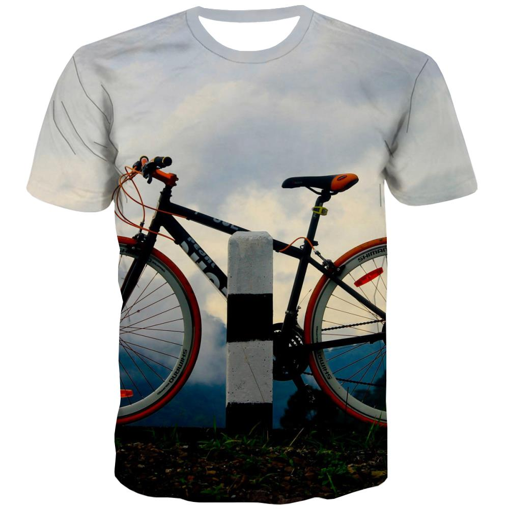 Bicycle T-shirt Men Metal T shirts Funny City Shirt Print Psychedelic T-shirts Graphic