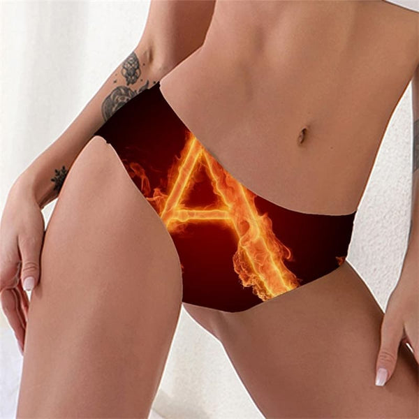 Flame Panties Women The Letter A Pantys Funny Tanga Women's Underpant