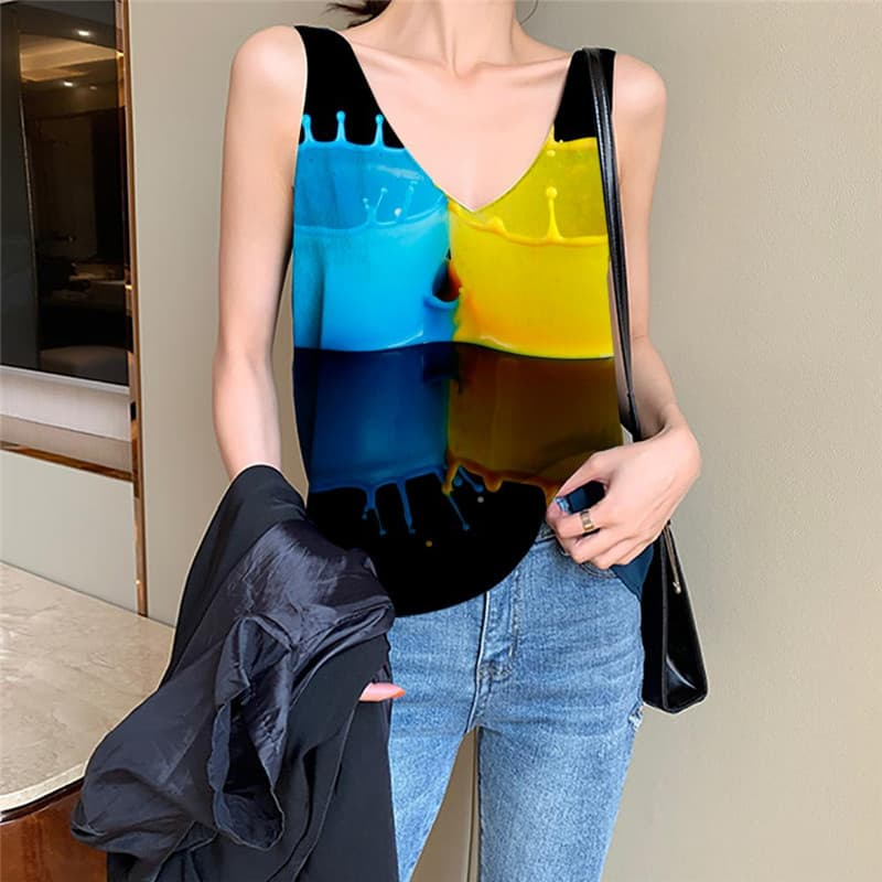 Pigment Tank Top Women Colorful Sleeveless 3d Art Tank Tops Casual