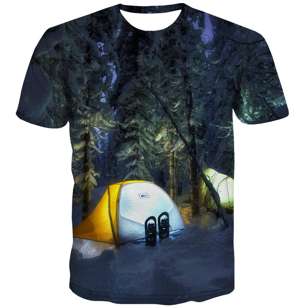 Camping T-shirt Men Sunset Tshirts Novelty Forest Tshirts Cool Flame Shirt Print