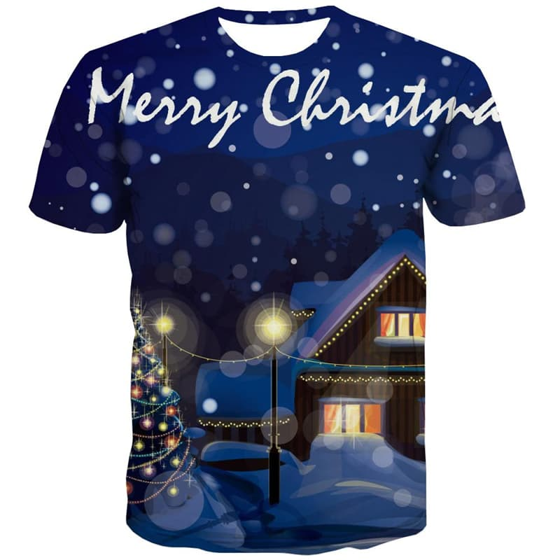 Christmas T-shirt Men Snow Shirt Print Party T-shirts Graphic Christmas Tree T shirts Funny