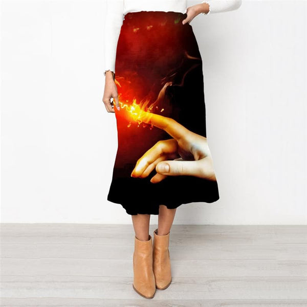 Flame Skirts Women Light Bulb High waist skirts Hand School skirt Couple Skirt Ladies