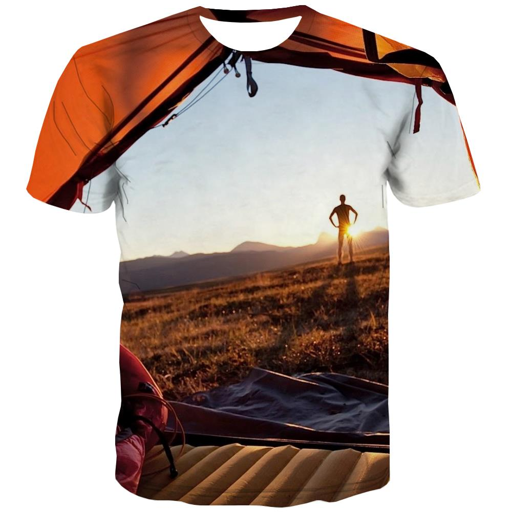 Camping T shirts Men Sunset Tshirt Anime Forest T-shirts Graphic Flame Shirt Print