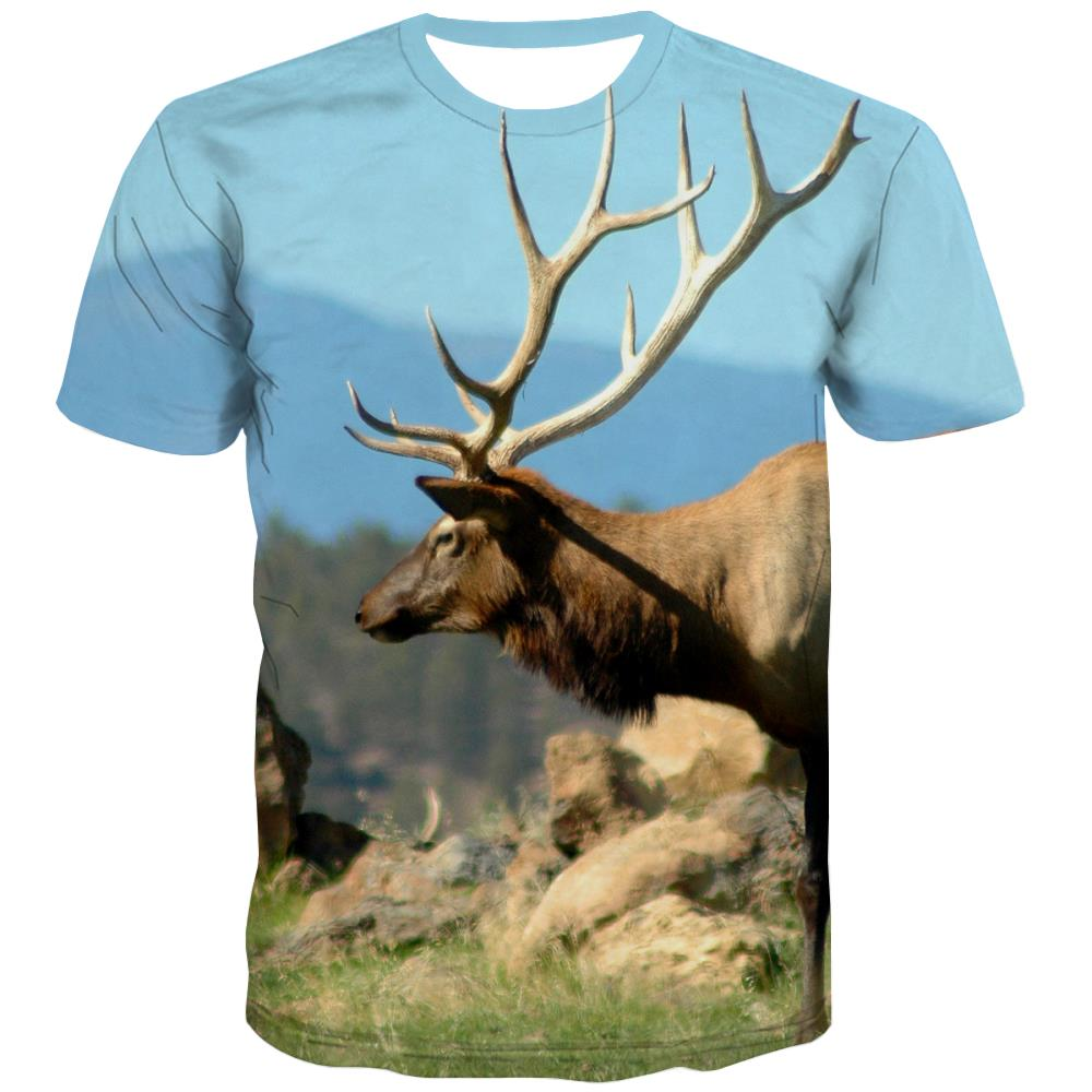Hunting T shirts Men Jungle T-shirts Graphic Deer Tshirts Casual Shooter T shirts Funny Camouflage Shirt Print
