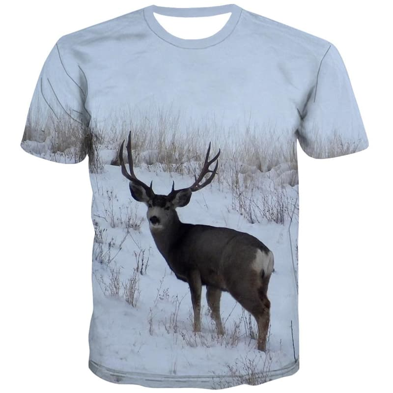 Animal T-shirt Men Deer Shirt Print Snow Tshirt Printed White Tshirt Anime